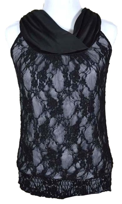 Maurices Smocked Twisted Draped Drape Gathered Banded Bottom Fully Lined Nude Stretchy Keyhole Top black lace