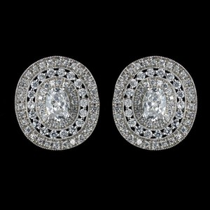 Elegance By Carbonneau Cz Crystal Wedding Stud Earrings