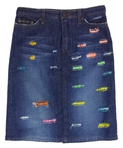 Dolce&Gabbana Denim Distressed Pencil Mini Skirt