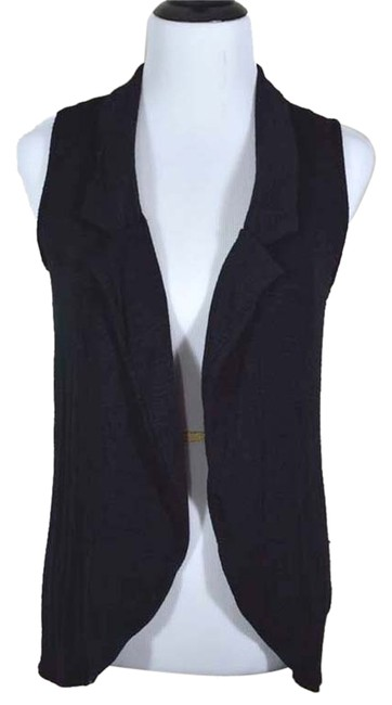 Studio Y Vest Sleeveless Drape Open Front Long Collar Casual Soft Cardigan