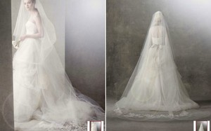 Vera Wang Ivory Long Two-tier Chapel Length with Lace Applique Style Vw370017 Bridal Veil