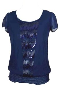 Studio Y Tie Sequin Sparkle Flutter Smocked Bottom Banded Bottom Shiny Muted Dark Chiffon Overlay Top deep navy blue