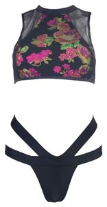 Nasty Gal Rose Mesh Bandage Halter Rose Bikini Swimsuit Set