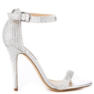 4197163e8bd Steve Madden Silver Realov-r Rhinestone Dress Sandals Formal Size US 8  Regular (M