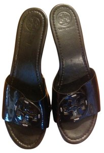 Tory Burch Leather Vernis Black Platforms