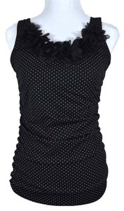 Maurices 3d Flowers Pin Dot Gathered Ruched Stretchy Long Top Black with White Polkadots