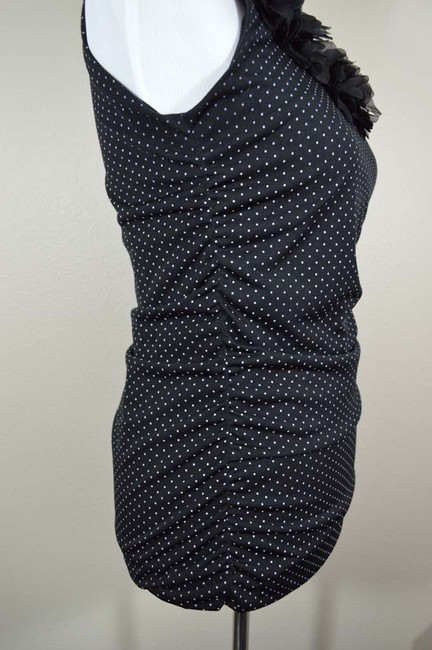 Maurices Pin Dot Ruched Stretchy Long And Top Black with White Polkadots