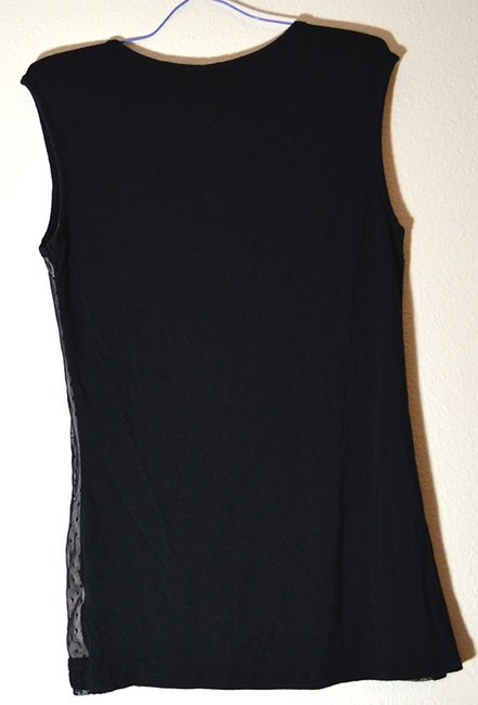 Maurices Pleated Overlay Netting Nude Sleeveless Shell Dot Top black & beige