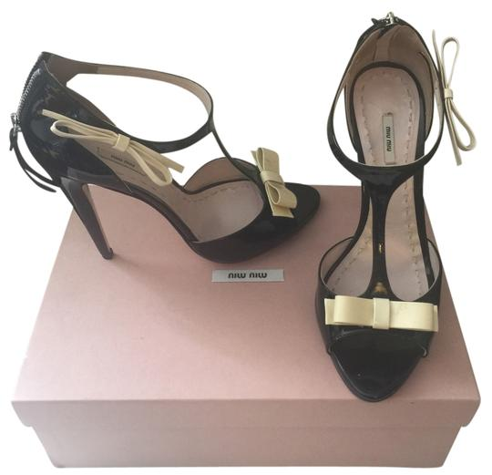 Miu Miu Sandal Summer Ankle Strap Patent Leather black and white Pumps