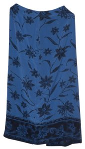Jones New York 100% Silk Maxi Maxi Skirt Royal Blue Floral Print