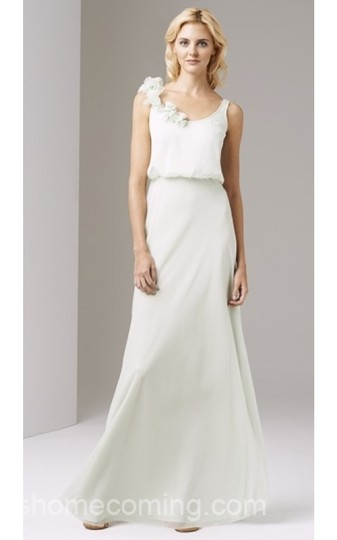 Adrianna Papell Honeydew Rosette Chiffon Blouson Gown Dress