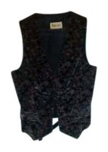 Focus Vest Velvet Vintage Button Down Shirt black w/ print