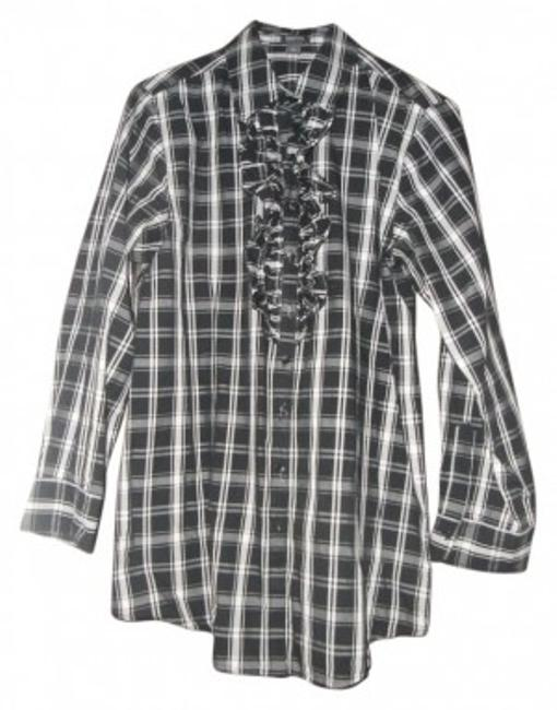 Kenneth Cole Reaction Button Down Shirt BLACK AND WHITE
