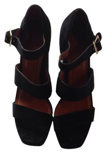 Elizabeth and James Black Suede Platforms