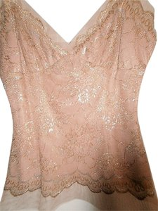 BCBGMAXAZRIA Top Nude with Silver/Gold Overlay