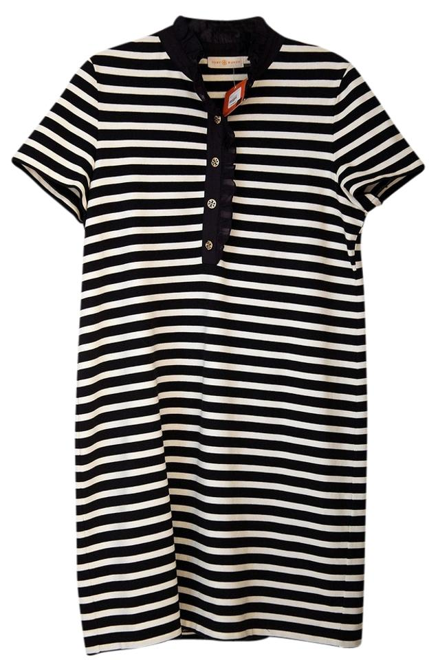 d1e91d997927 Tory Burch Navy and White Striped Short Casual Dress Size 14 (L ...