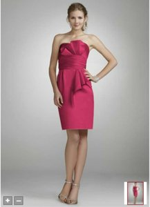David's Bridal Watermelon Strapless Satin Dress With Obi Detail Style 84710 Dress