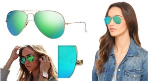 Ray-Ban Ray-Ban Aviator Flash Sunglasses RB3025 112/17 Green Mirror Lens With Gold Frame Size 58mm