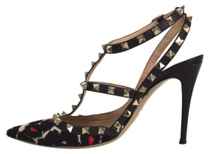 Valentino Rockstud Leopard Calf Hair Slingback Multicolor Pumps