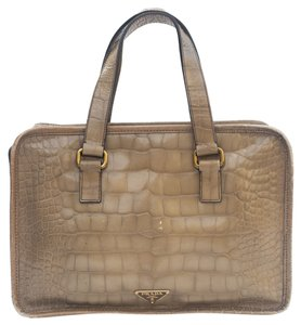 Prada Crocodile Embossed Patent Leather Double Zipper Vintage Satchel in Beige, Tan