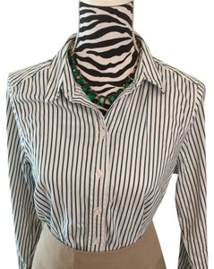 212 Collection Button Down Shirt green, white