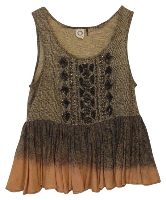 Item - Embellished Blouse Dusty Brown + Peach Ombre Top