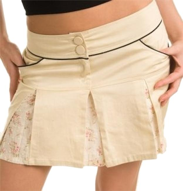 Item - Beige Sailor Embroidered Panel Pleated Tennis Skirt Size 12 (L, 32, 33)