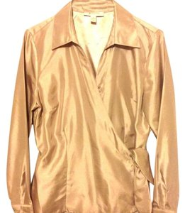 M Collection Machine Gentle Wash 100% Polyester Longsleeve Top Beige\gold