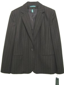 Ralph Lauren New Nwt 14 100% Wool L Striped Office Wear Lambs Suit Jacket Women brown Blazer
