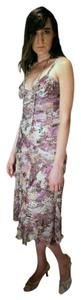 Diane von Furstenberg Long Evening Purple Snake Skin Pattern Slinky Flattering Silk Curvy Designer Dress