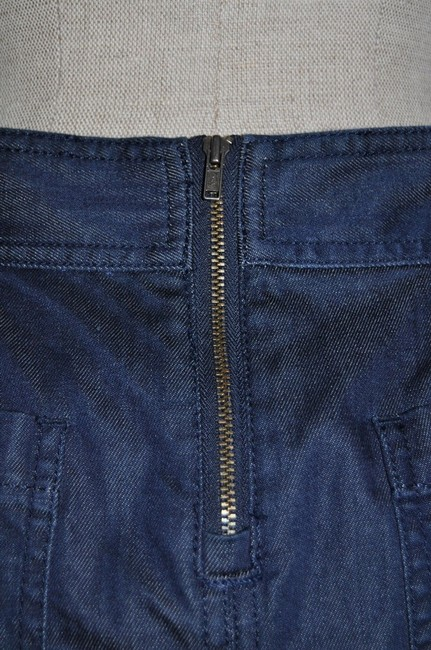 Ann Taylor LOFT Stretch Exposed Zipper Denim Mini Skirt Blue