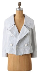 Daughters of the Liberation Anthropologie Cropped Seersucker Striped Military Jacket