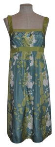 BCBG Paris short dress Blue & Green 100% Silk Silk Floral on Tradesy