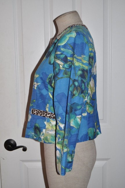 Chico's Mixed Print Animal Print Floral Open Front Cardigan Resort Blue Blazer