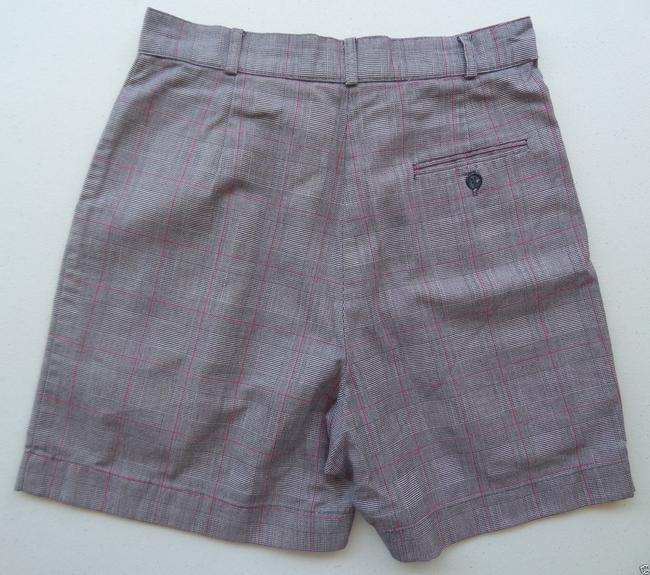 TEHAMA Black Gray and Red Checkered Print Shorts