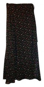 Express Summer Loose Flowy Maxi Skirt Black w/ floral print