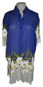 Gottex GOTTEX Blue/White Floating Daisy Sheer Tunic Cover-Up