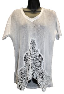 XCVI Sheer White Cotton Knit Top