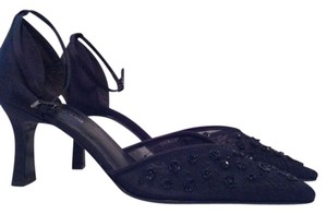 Enzo Angiolini Beaded Ankle Strap Dressy Black Satin Pumps