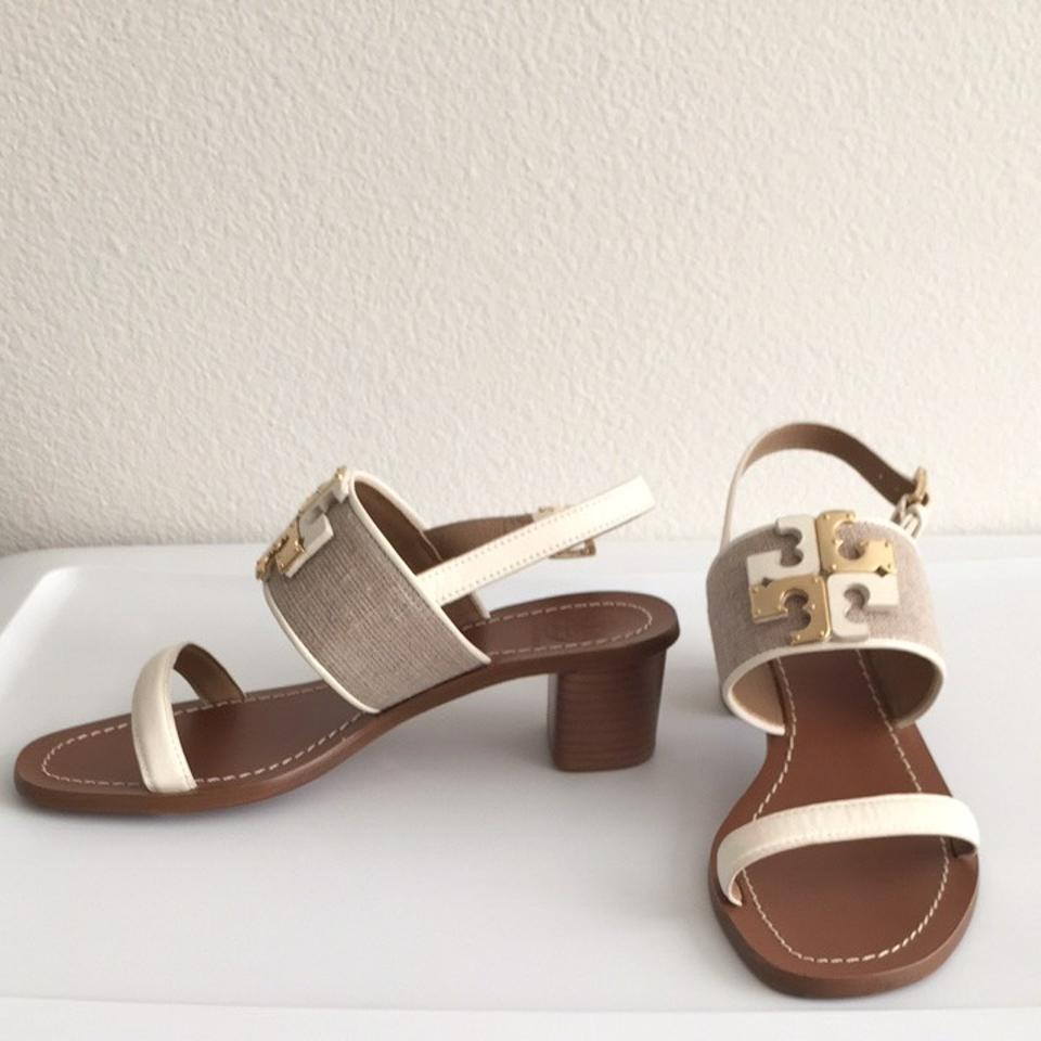 93abcc186 Tory Burch Natural Ivory Lowell Logo City Sandals Size US 6.5 Regular (M