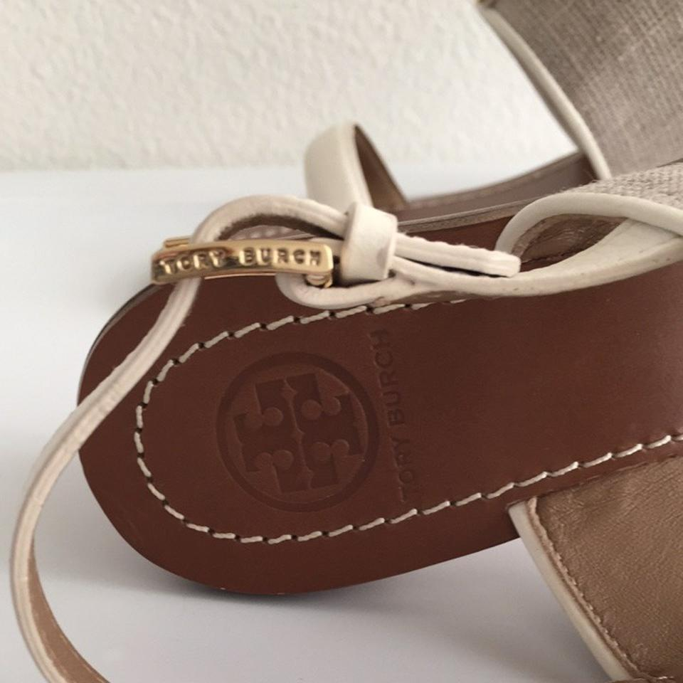 c2d49ba99 Tory Burch Natural Ivory Lowell Logo City Sandals Size US 6.5 ...