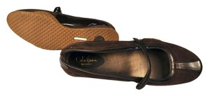 Cole Haan Nike Air Mary Jane Leather Patent Leather Suede brown Flats