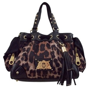 Juicy Couture Satchel in Black/Brown Leopard
