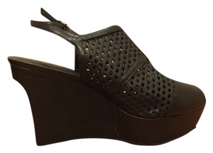 Rockport Perforated Platform Peep Toe Black Wedges