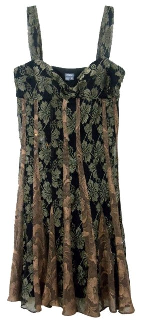 Item - Multi-color Sleeveless Metallic Copper Bronze and Black Floral Lace Knee Length Cocktail Dress Size 10 (M)