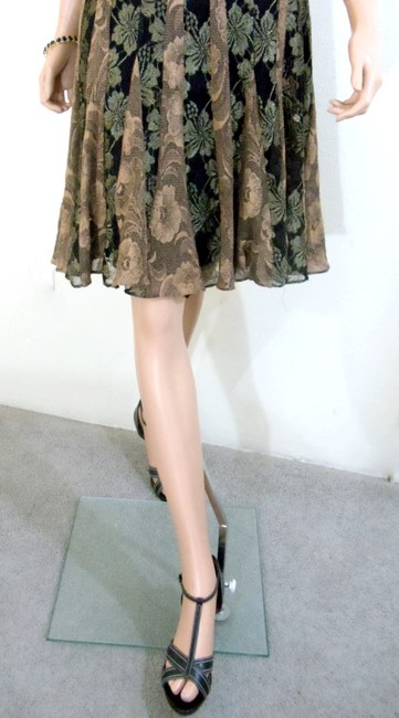 Muse Sleeveless Lace Fit & Flare Sweetheart Neckline Metallic Copper Bronze Floral Dress
