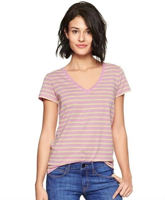 Gap 100% Cotton Short Sleeve V-neck Spring Tee Striped T Shirt Grey and Purple