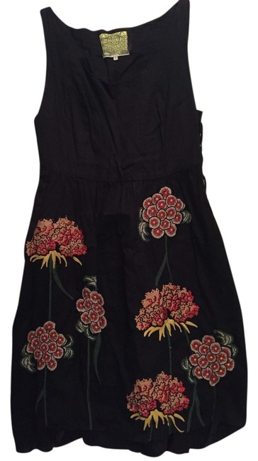 Anthropologie short dress Black and Floral Holiday on Tradesy