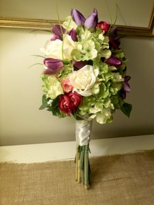 Hydrangea Tulip & Rose Wedding Bouquet + Groom Boutonierre
