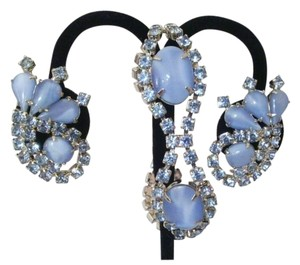 Vintage Blue Bridal Crystal Jewelry Set Moonglow Blue Crystal Silver Jewelry Set